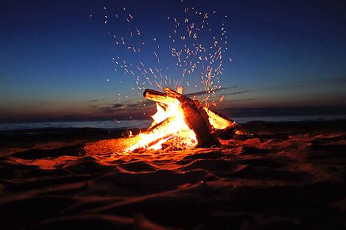 obx beach bonfire at night