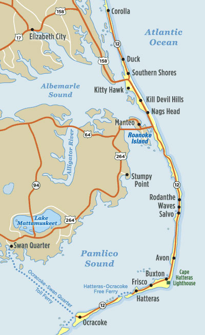 map of where to stay in Outer Banks