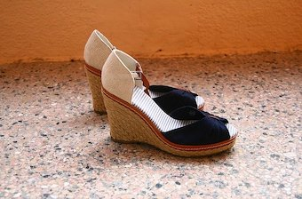 Blue and white wedge sandals